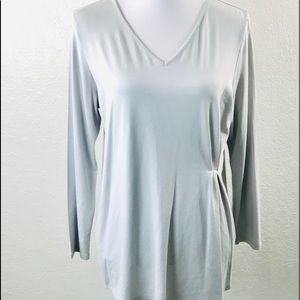 J. Jill Wearever Tunic Top Petite M Gray  Ruched